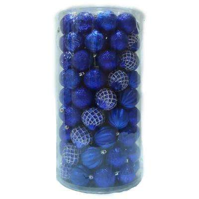 60 mm blue and silver ornament set 101 count