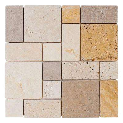 Brick Medley 12 in. x 12 in. x 9 mm Honed Travertine Mosaic Floor and Wall Tile