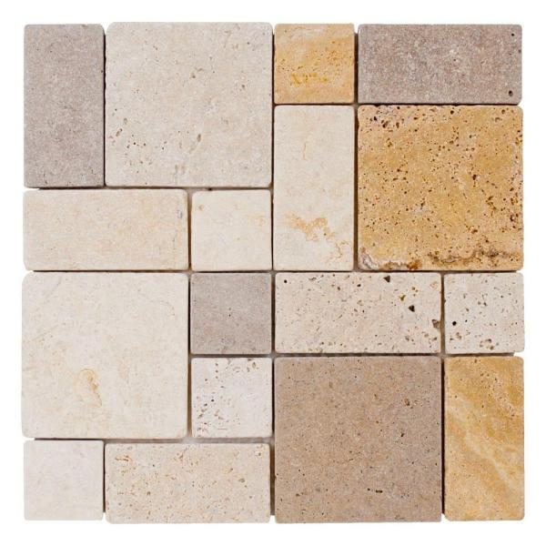 Brick Medley 11.875 in. x 11.875 in. Honed Travertine Wall and Floor Mosaic Tile (0.979 sq. ft./Each)