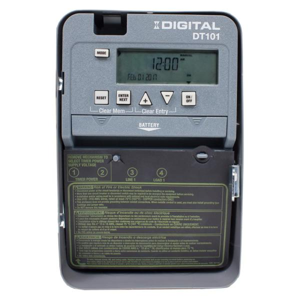 DT Series 1-Circuit 20 Amp 24 Hour Indoor Surface Mount Timer with Battery Backup, Gray