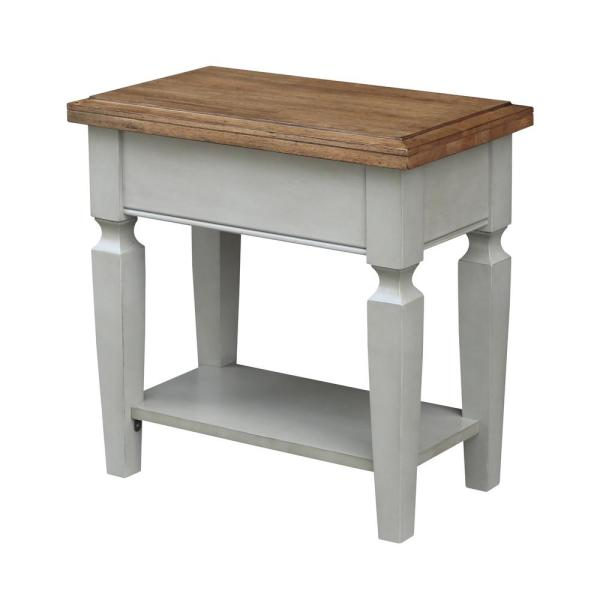 Vista 2-Tone Hickory and Gray Side Table