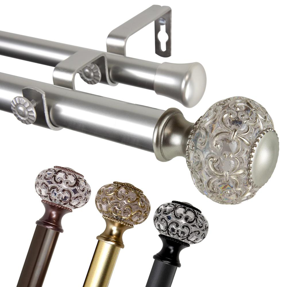 """EMOH 1 Inch Dia 66-120"""" Adjustable Lavish Double Curtain Rod in Gold"""