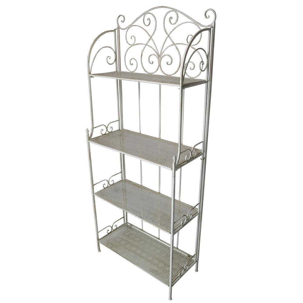 28 In. X 13 In. Metal Antique Cream Foldable 4-Level