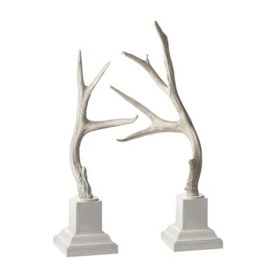 25 in. and 28 in. Weathered Resin Buck Antlers Decorative Figurines in Cream on White Base (Set of 2)