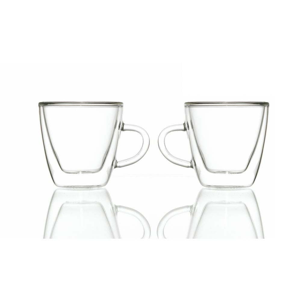 Turin 4.7 oz. Double-walled Glass Espresso Cups with Handles (Set of