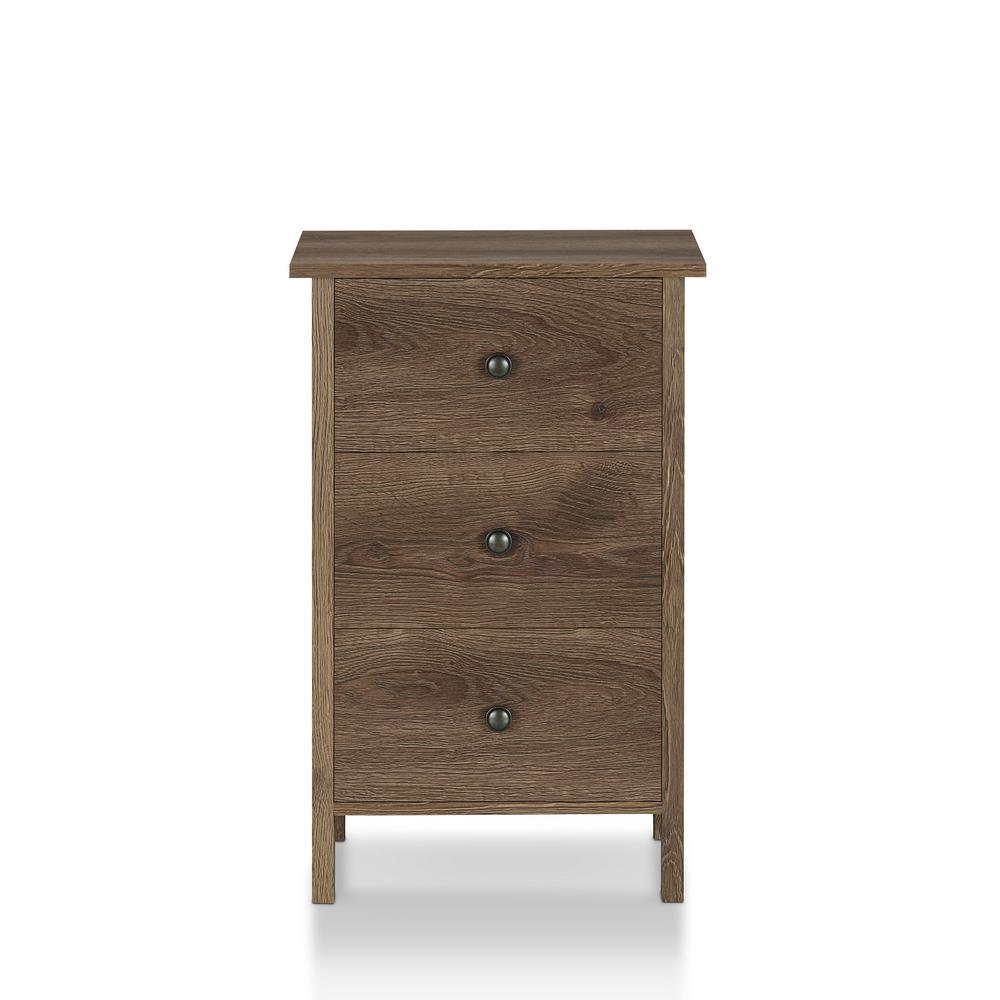 Furniture of America Lana 3-Drawer Distressed Walnut Nightstand