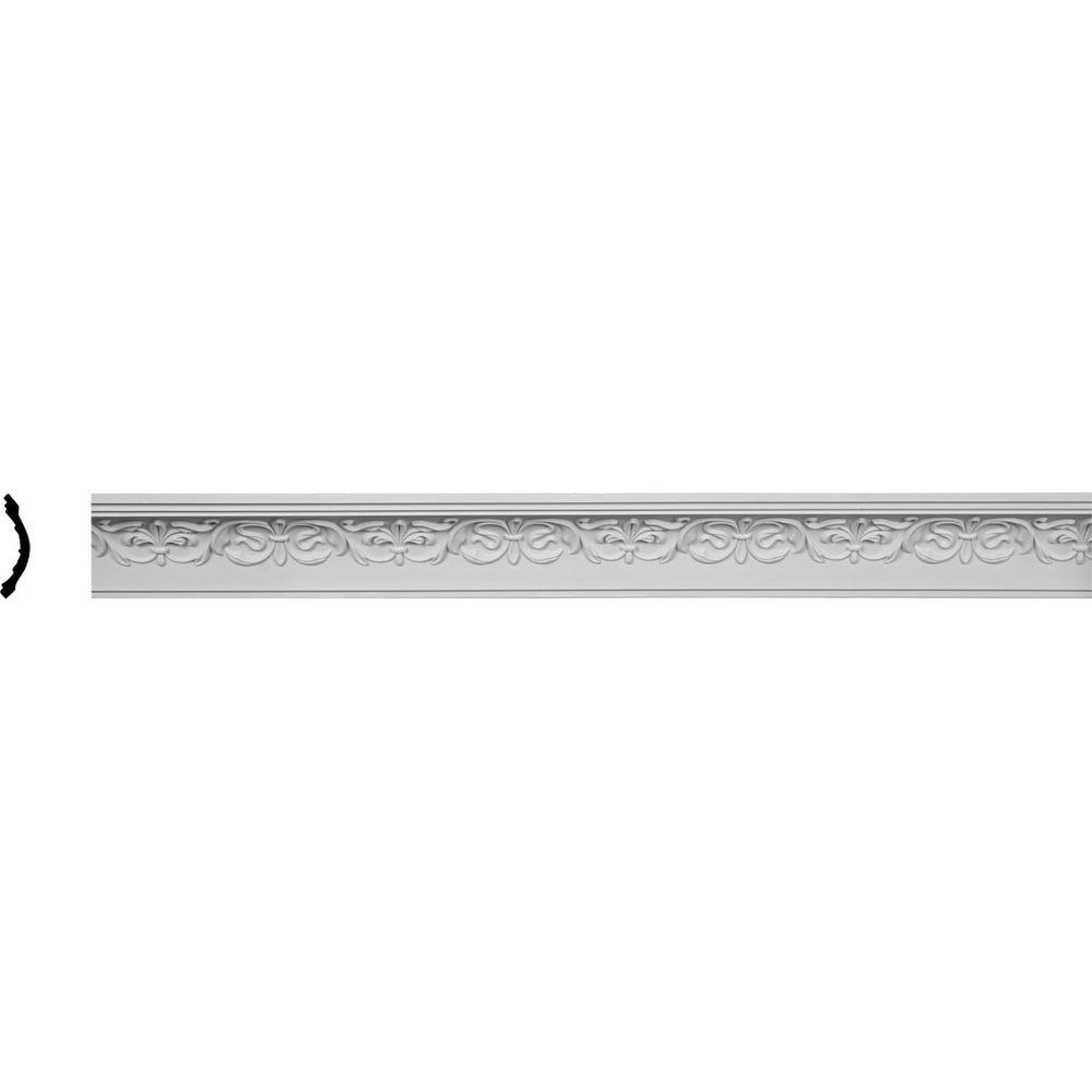 Ekena Millwork 3-1/4 in. x 3-1/2 in. x 96 in. Polyurethane Fleur-De-Lis Crown Moulding