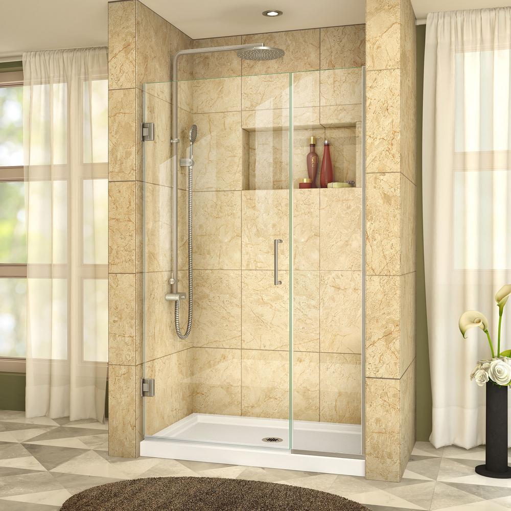 Unidoor Plus 40 in. to 40-1/2 in. x 72 in. Frameless Hinged Shower Door in Brushed Nickel