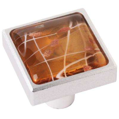 1.37 in. Yellow Square Aluminum and Glass Cabinet Knob