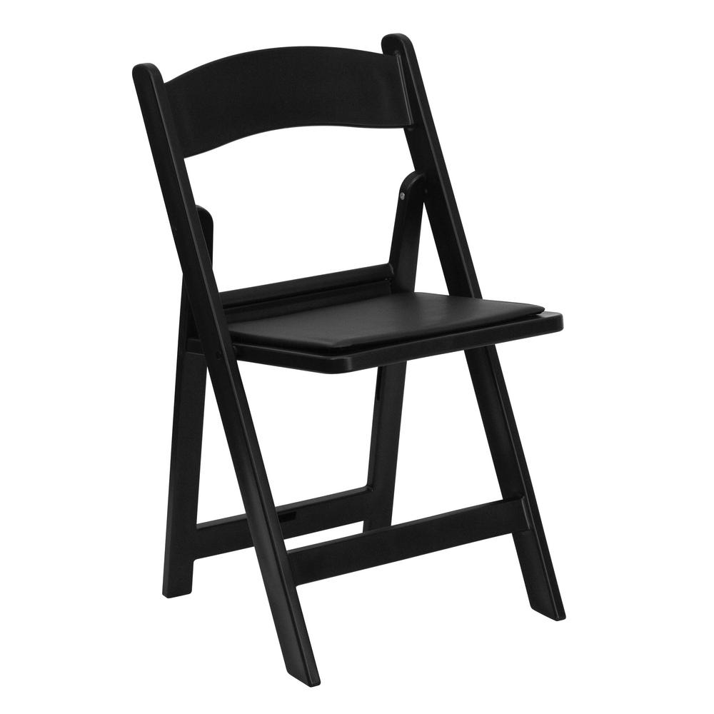 Hercules Series 1000 lb. Capacity Black Resin Folding Chair with Black