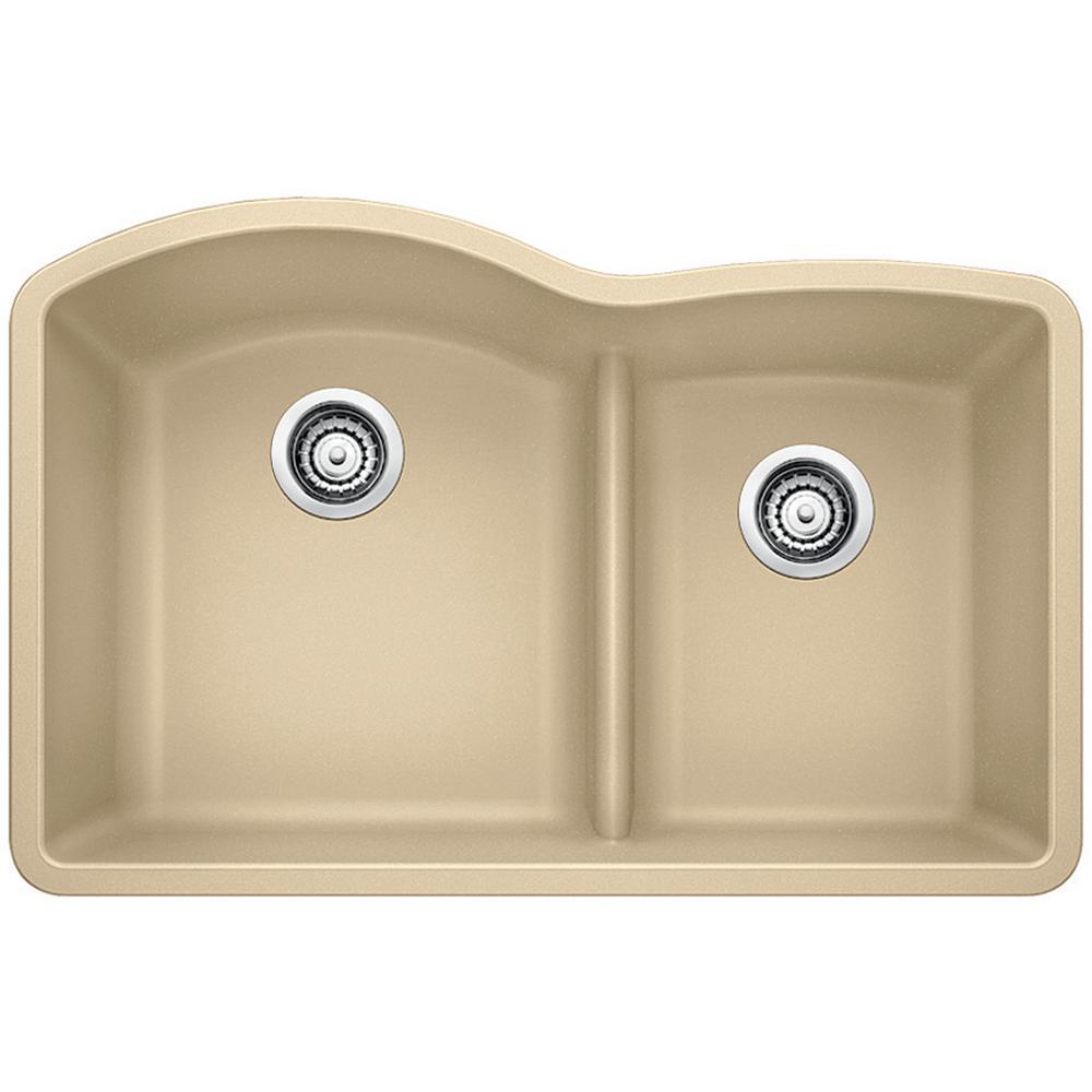 Diamond Undermount Granite Composite 32 in. 70/30 Double Bowl Kitchen Sink in Biscotti