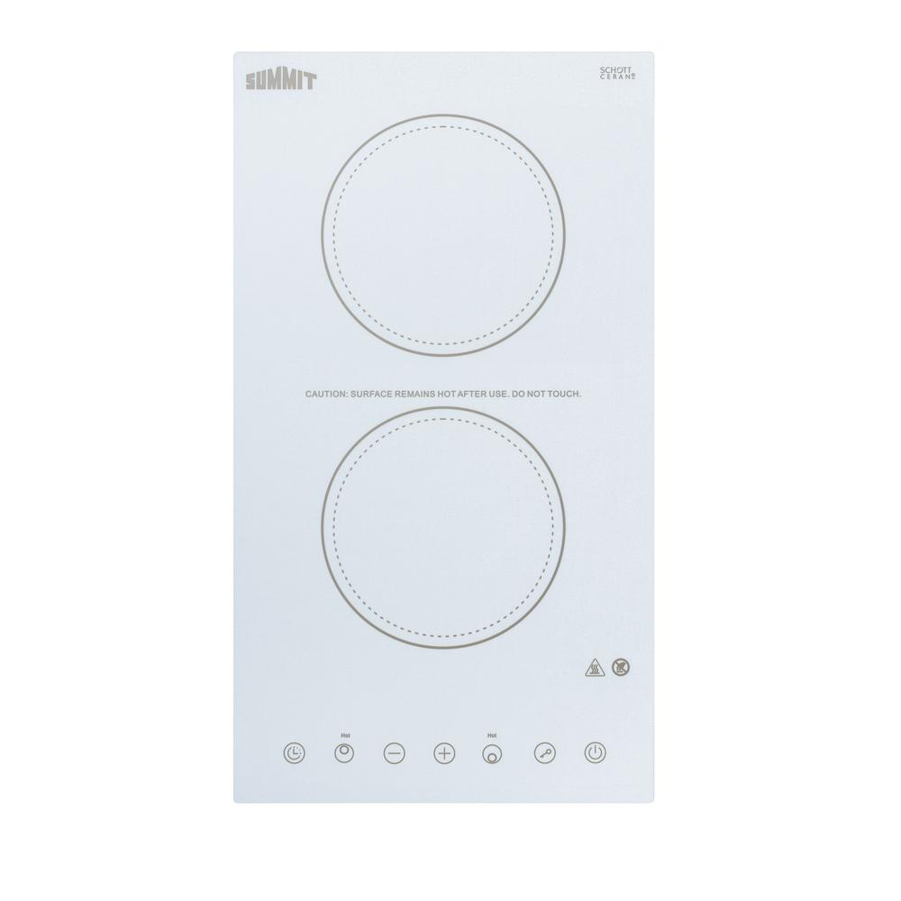 Radiant Electric Cooktop In White With 2 El