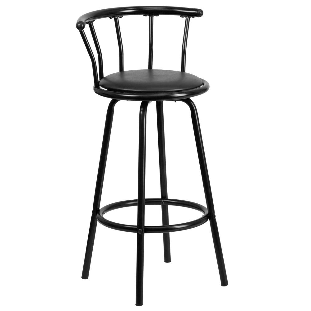 Carnegy Avenue Crown Back Black Metal Barstool With Black Vinyl