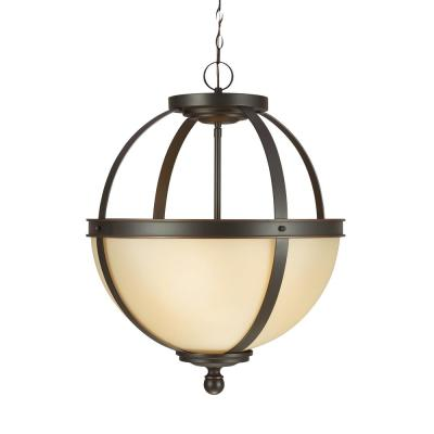Sfera 18.5 in. W. 3-Light Autumn Bronze Pendant with LED Bulbs