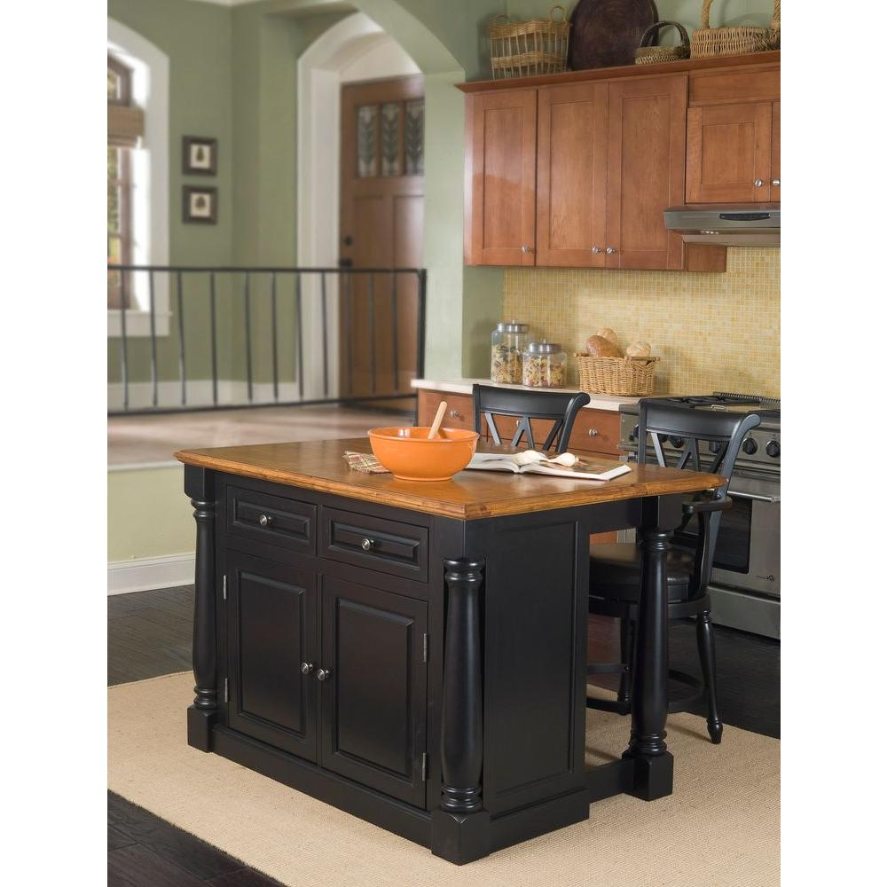 Home Styles Monarch Black Kitchen Island With Seating 5008 948 The Home Depot