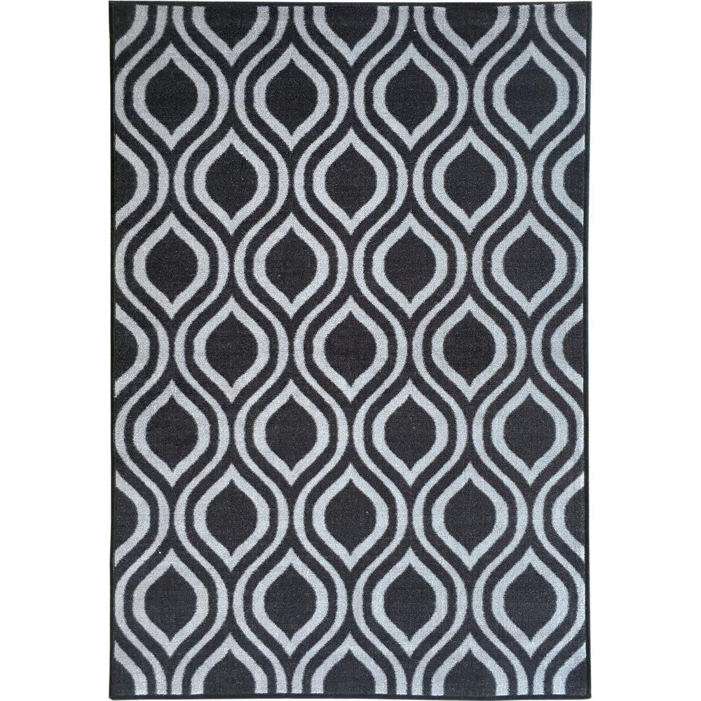 Rose Collection Contemporary Moroccan Trellis Design Dark Grey 5 ft. x 7 ft. Non-Skid Area Rug