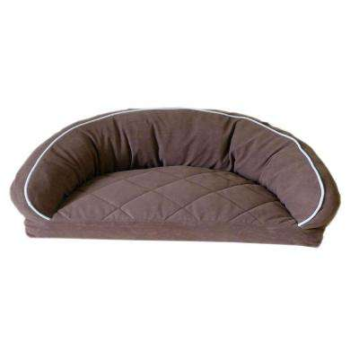Medium Microfiber Semi Circle Lounge Dog Bed - Chocolate with Linen Piping