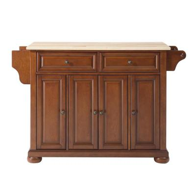 Alexandria Cherry Kitchen Island with Wood Top