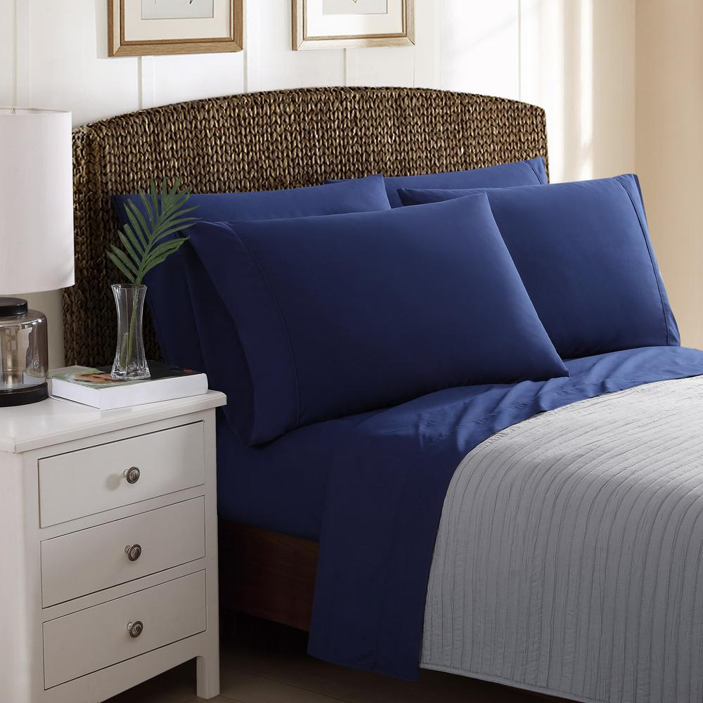 6-Piece Solid Navy Blue California King Sheet Sets