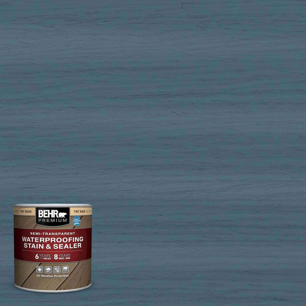 BEHR Premium 8 oz. #ST-107 Wedgewood Semi-Transparent Waterproofing Exterior Wood Stain and Sealer Sample