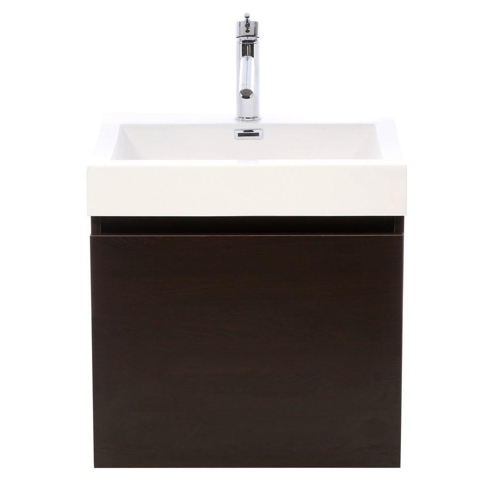 Virtu USA Zuri 24 in. W Bath Vanity in Wenge with Polymarble Vanity Top in White Polymarble with Square Basin