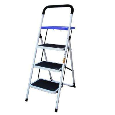 3-Step Steel Metal Ladder with Paint Tray