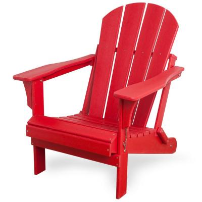 Addison Red Folding Plastic Outdoor Adirondack Chair