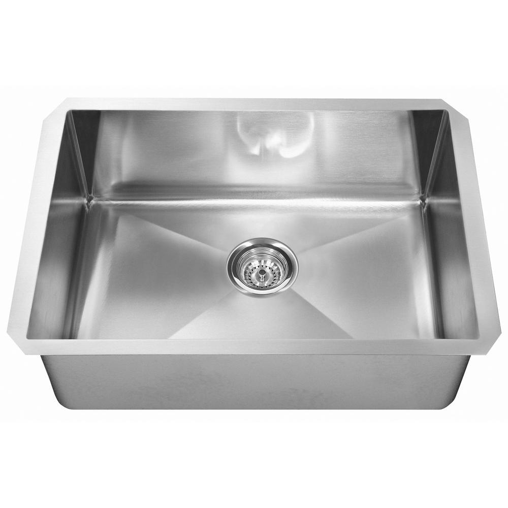 Undermount Stainless Steel 32.in 0 holeGauge Single Bowl Kitchen Sink
