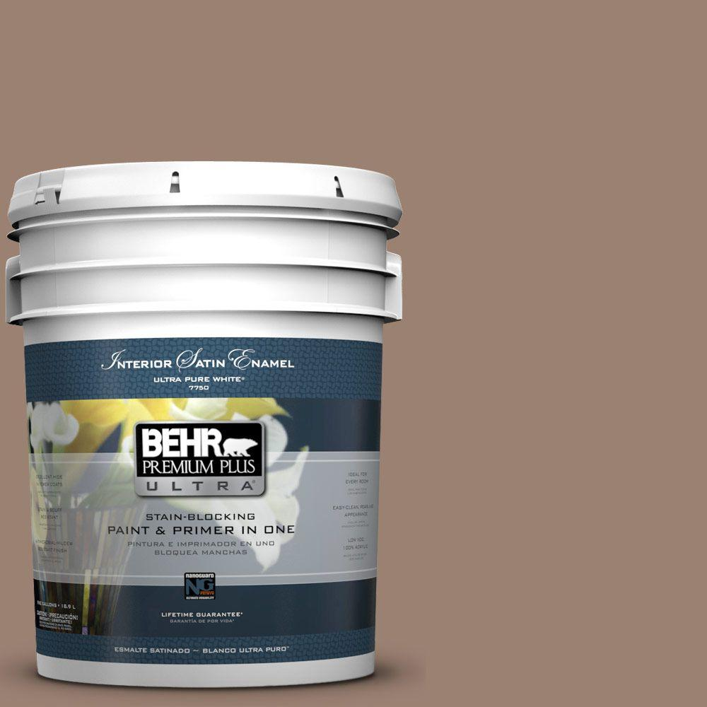 BEHR Premium Plus Ultra 5-gal. #N190-5 Frontier Brown Satin Enamel Interior Paint