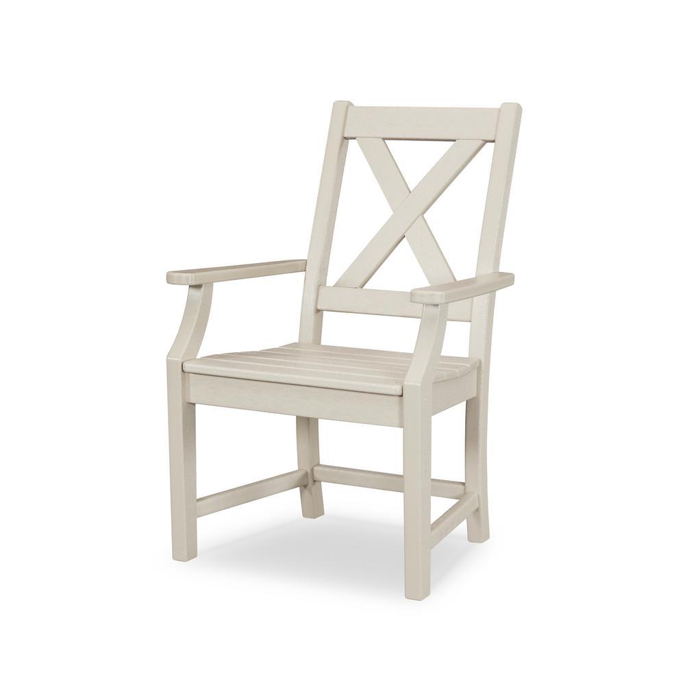 Braxton Sand Plastic Patio Outdoor Dining Arm Chair