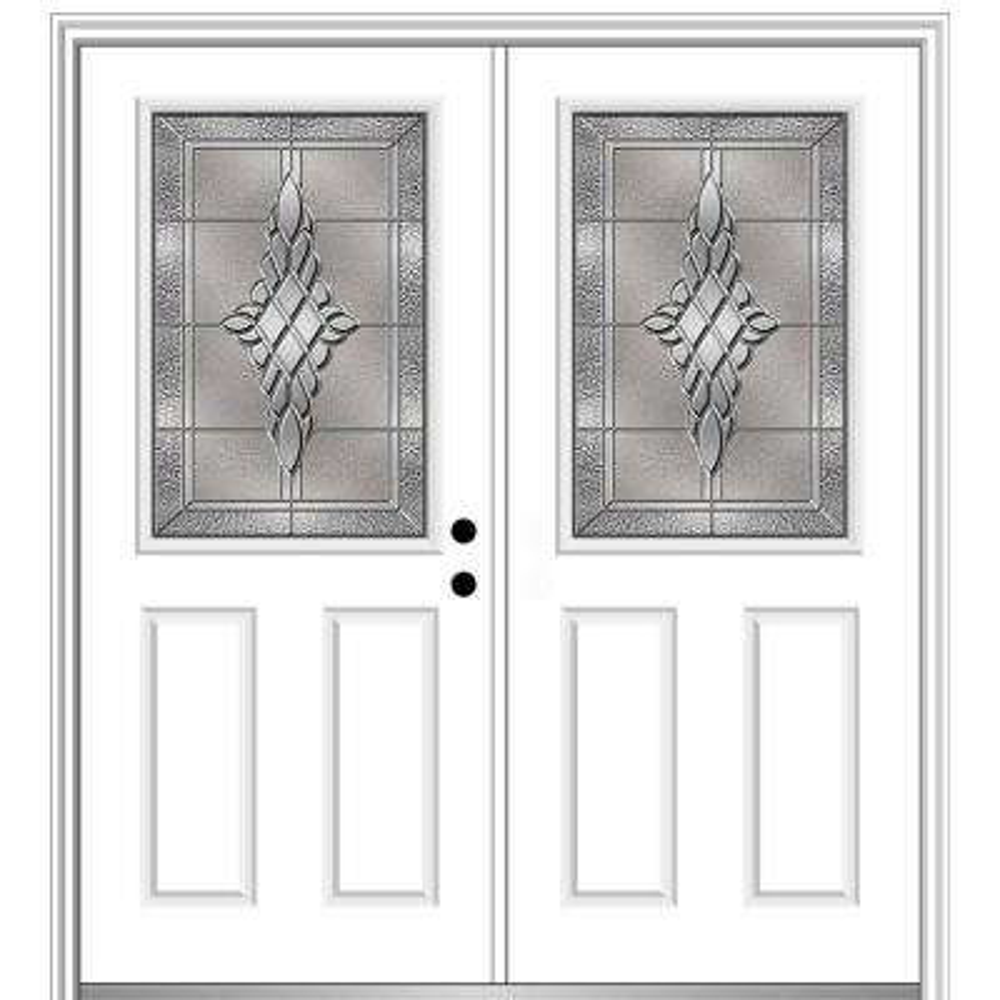68 in. x 80 in. Grace Left-Hand Inswing 1/2-Lite 2-Panel Decorative Primed Steel Prehung Front Door on 4-9/16 in. Frame