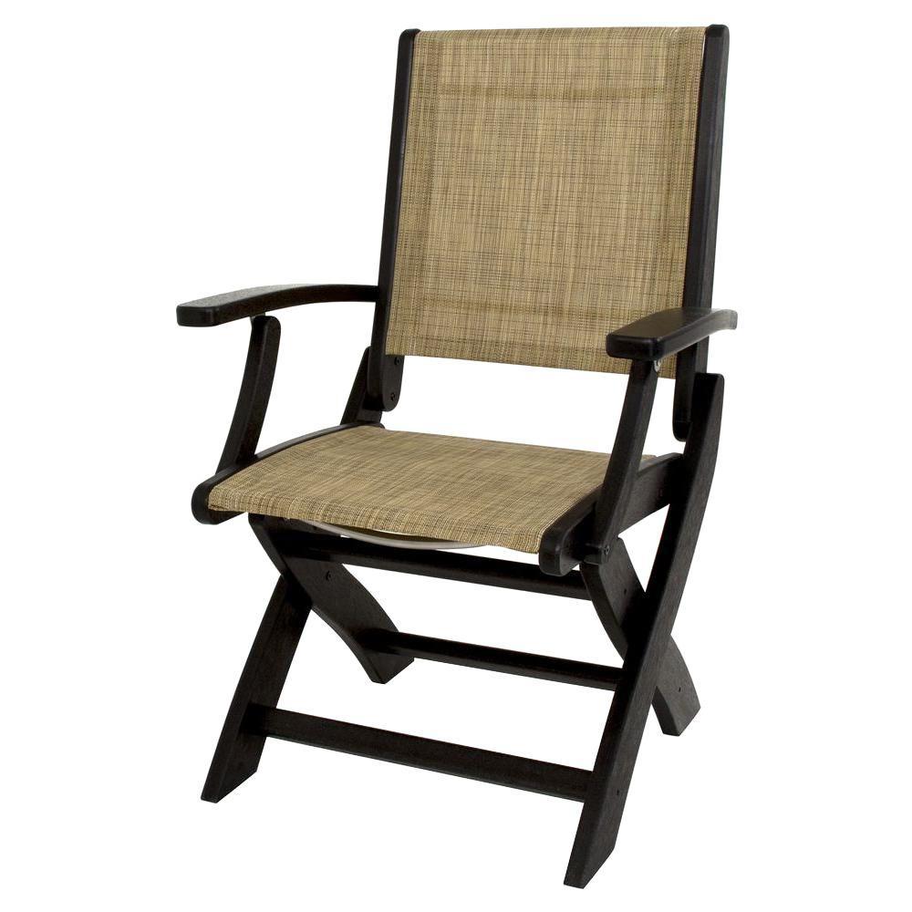 Polywood Black Burlap Sling Coastal Patio Folding Chair 9000 Bl912