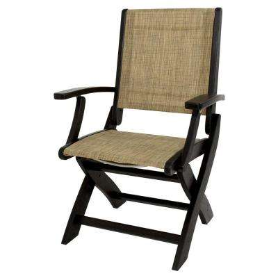 POLYWOOD Black/Burlap Sling Coastal Patio Folding Chair by POLYWOOD