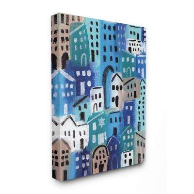 """30 in. x 40 in. """"Painterly Blue Abstract Cityscape in Shades of Blue"""" by Linda Woods Canvas Wall Art"""