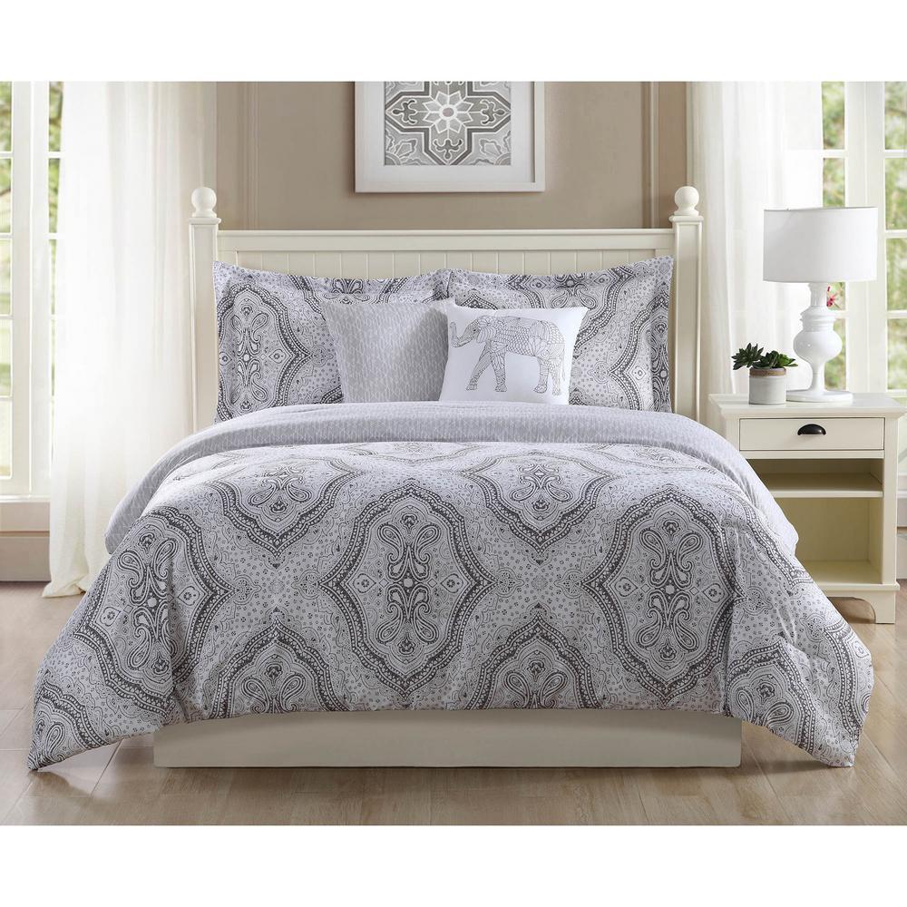 studio 17 kyra grey 5 piece full queen comforter set ymz006983 the home depot. Black Bedroom Furniture Sets. Home Design Ideas