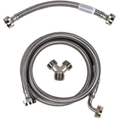 Braided Stainless Steel Steam Dryer Installation Kit with Elbow