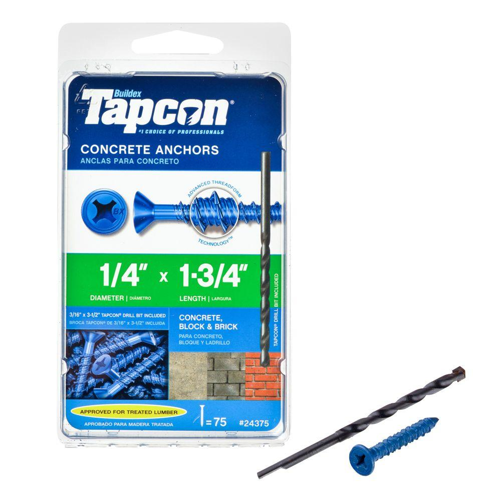 Tapcon 1/4 in. x 1-3/4 in. Phillips-Flat-Head Concrete Anchors (75-Pack)