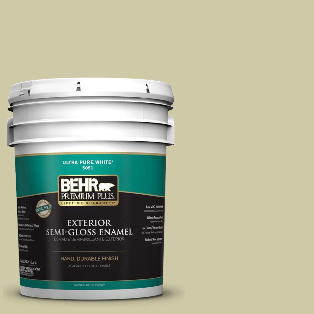 BEHR Premium Plus 5-gal. #ICC-58 Crisp Celery Semi-Gloss Enamel Exterior Paint