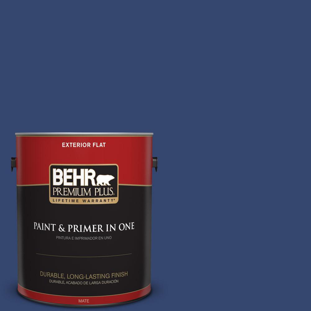BEHR Premium Plus 1-gal. #S-H-610 Mountain Blueberry Flat Exterior Paint