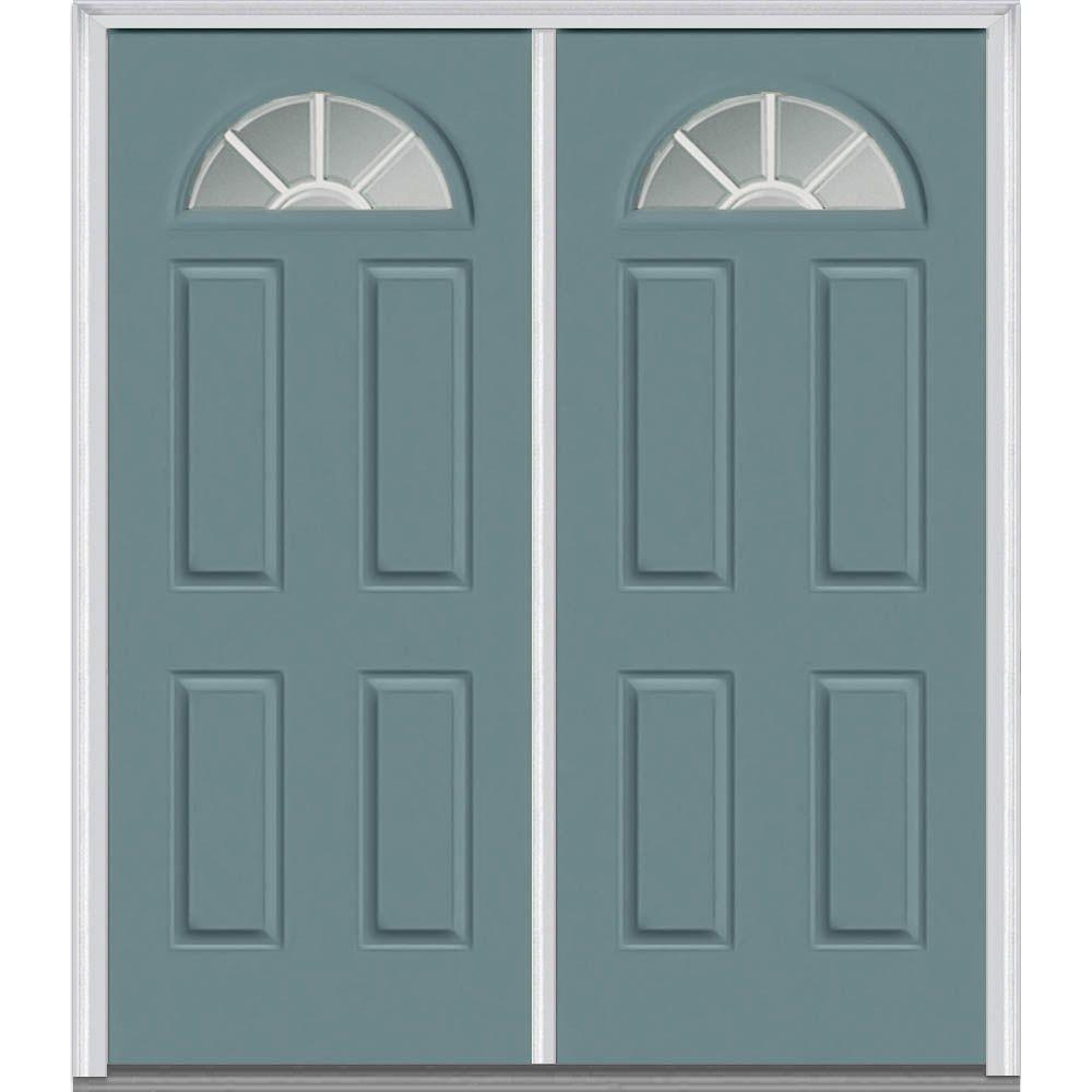 60 in. x 80 in. Grilles Between Glass Right-Hand Fan Lite 4-Panel Classic Painted Steel Prehung Front Door