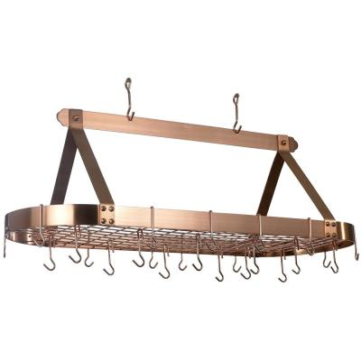 15.5 in. x 19 in. x 48 in. Oval Satin Copper Pot Rack with 24 Hooks