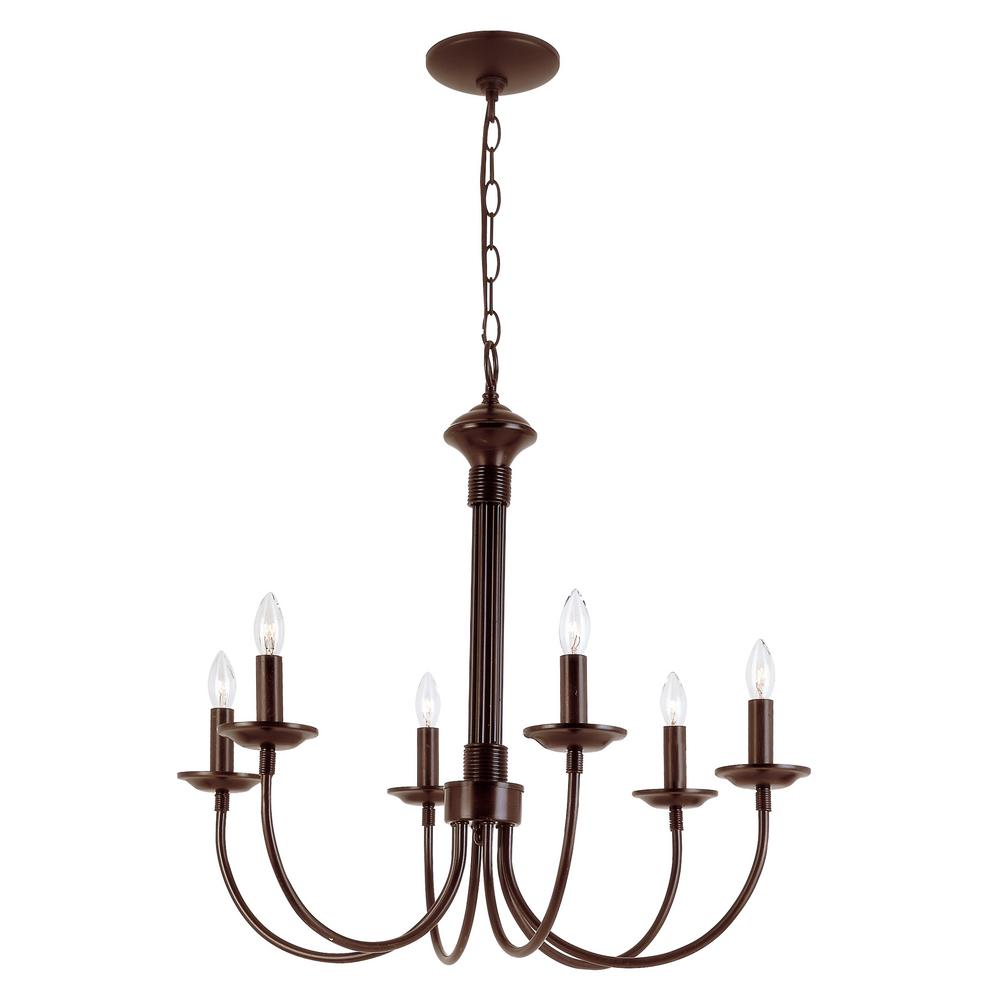 Candle 6-Light Rubbed Oil Bronze Chandelier