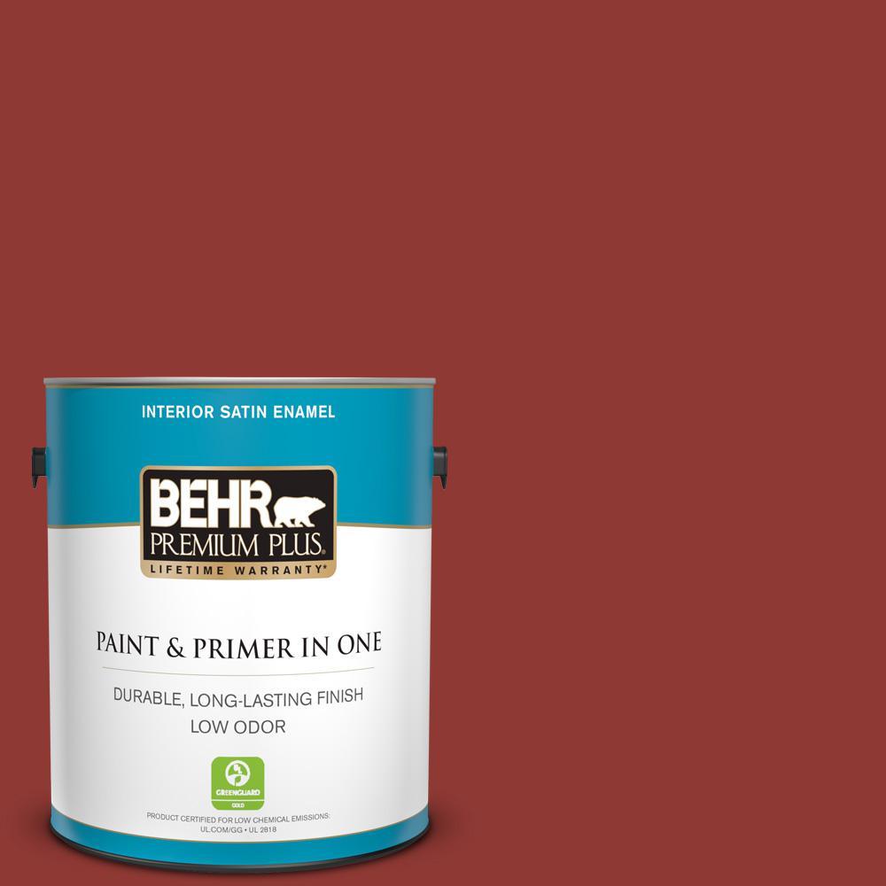 BEHR Premium Plus 1 gal. #PMD-21 Autumn Maple Satin Enamel Low Odor Interior Paint and Primer in One