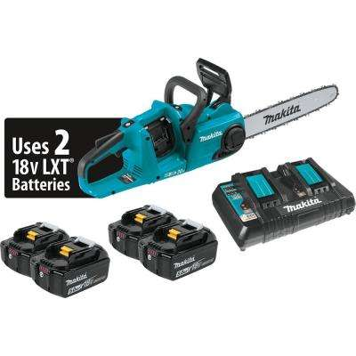 14 in. 18-Volt X2 (36-Volt) LXT Lithium-Ion Brushless Cordless Chain Saw Kit with (4) Batteries 5.0Ah and Charger