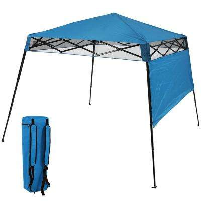 7.5 ft. x 7.5 ft. Blue Slant Leg Instant Pop Up Compact Backpack Canopy