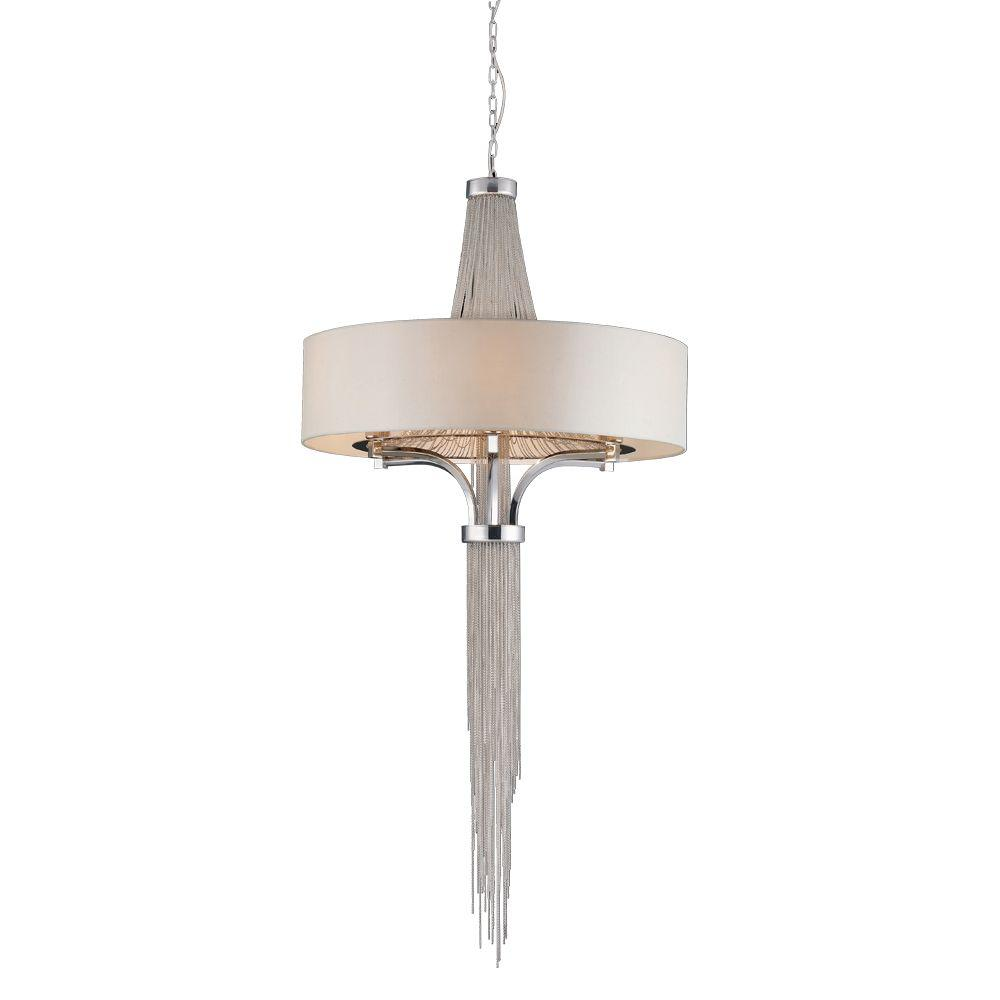PLC Lighting 8-Light Polished Chrome Pendant with Beige Shade