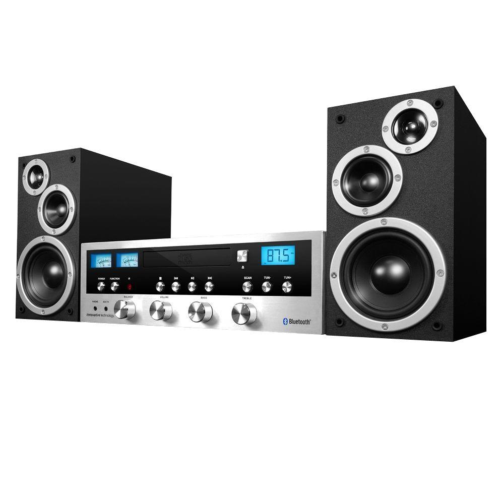 50-Watt Classic CD Stereo System with Bluetooth 50-Watt CD Stereo System with Bluetooth and detachable speakers. Blast your favorite music using the most modern technology available. Victrola Stereo with a beautiful vintage design.