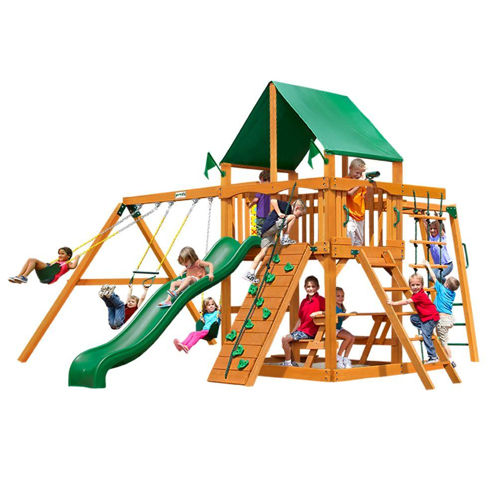 Gorilla Playsets Navigator with Amber Posts and Deluxe Green Vinyl Canopy Cedar Playset
