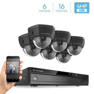 Plug & Play H265 16-Channel 4K NVR 4MP 1440p Surveillance System with 6 Wired POE Dome Cameras with 98 ft. Night Vision