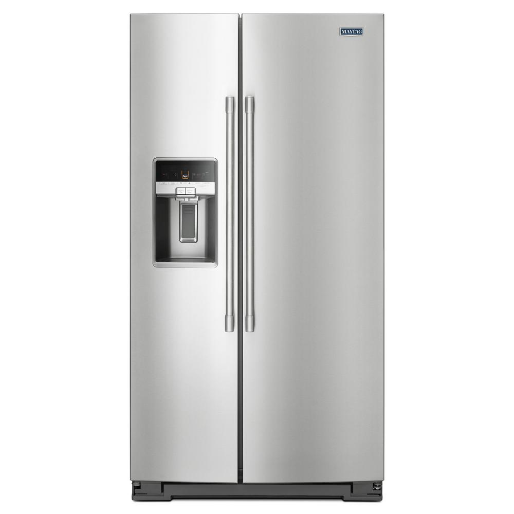 Maytag 21 Cu Ft Side By Side Refrigerator In Fingerprint Resistant Stainless Steel Counter Depth Msc21c6mfz The Home Depot